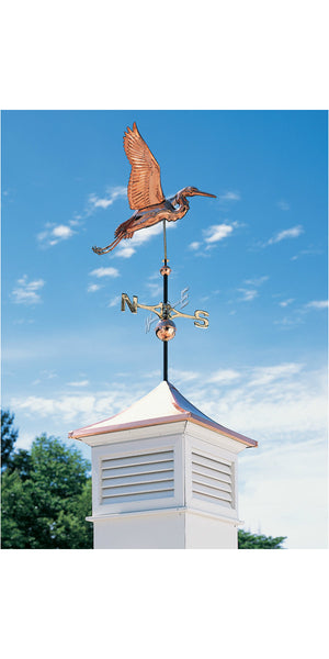 Copper Heron Weathervane in Verdigris patina