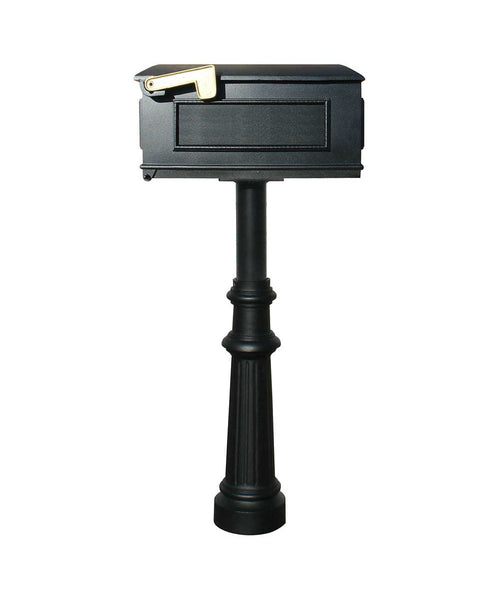 Qualarc Hanford Single In-Ground Mailbox Post Decorative Base Fluted