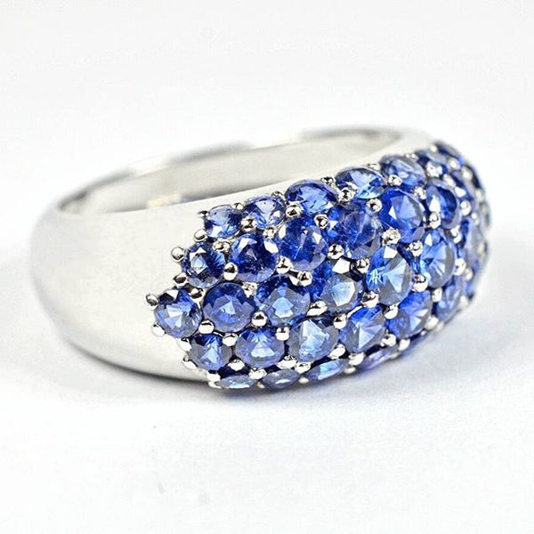 Blue sapphire paved ring