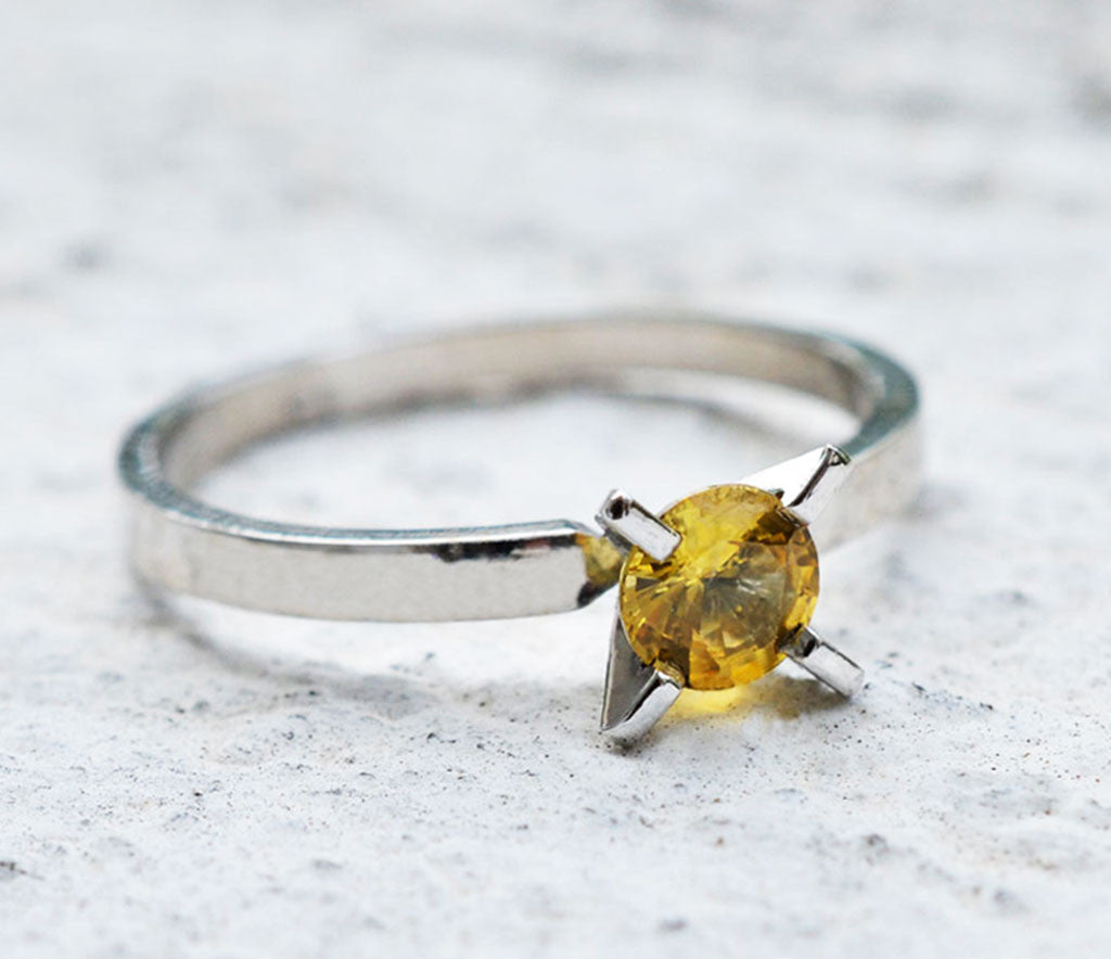 yellow sapphire unique prong setting ring