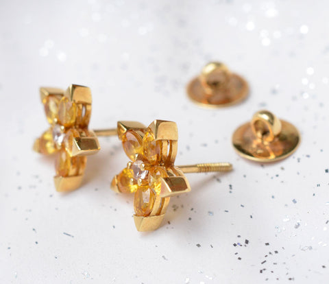Yellow sapphire flower earrings