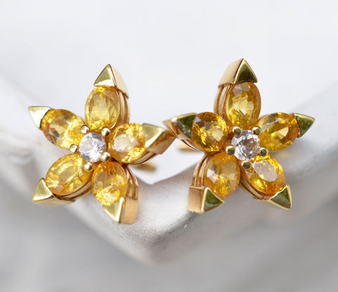 Five Petal Flower Shaped Yellow Sapphire Earrings