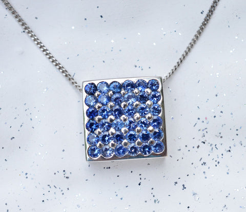 Ceylon Blue Sapphire Paved Square Pendant in 18K White Gold