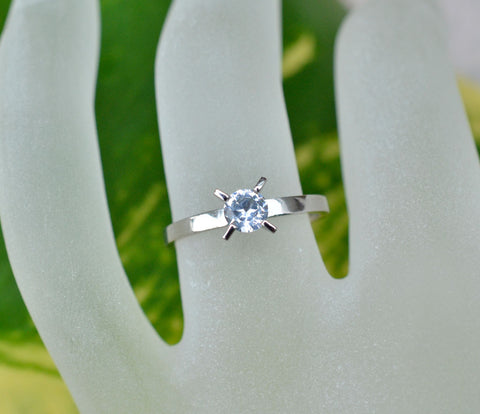 Natural white sapphire white gold ring