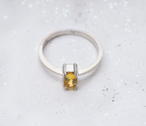 Natural Ceylon yellow sapphire white gold ring