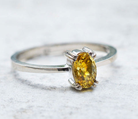 18K White Gold Lean Oval Natural Yellow Sapphire Ring