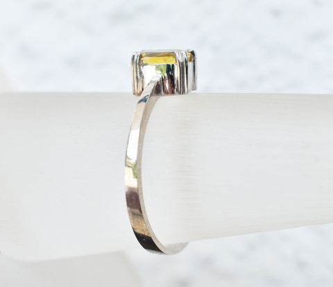 Natural yellow sapphire white gold ring