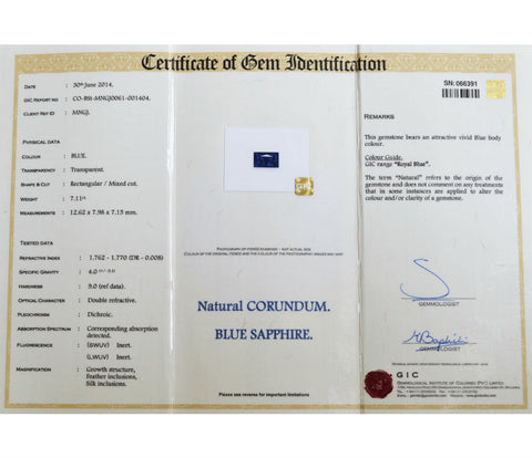 Rectangle Ceylon blue sapphire gemstone certificate