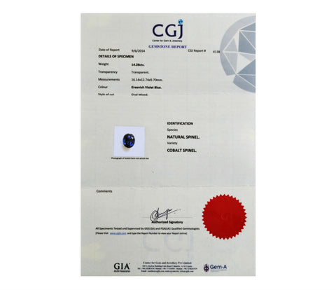 Natural Cobalt Blue Spinel gemstone certificate from GIA