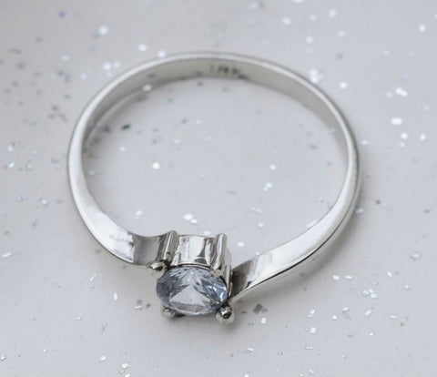 18K white gold natural Ceylon white sapphire ring available at Elizabeth Jewellers in Sri Lanka