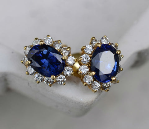 18K Yellow Gold Ceylon Blue Sapphire and Diamond Halo Eternity Earrings