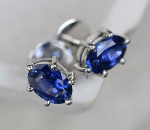 Natural Ceylon Oval Blue Sapphire 18K White Gold Earrings