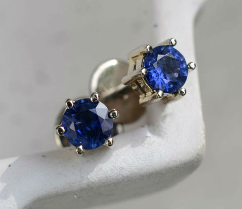 18K White Gold Round Ceylon Blue Sapphire Mini Earstuds (~3.5mm)