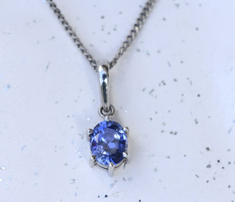 Natural Oval Ceylon Blue Sapphire 18K White Gold Pendant