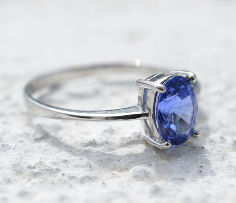 Ceylon Oval Blue Sapphire Box Stack 18K White Gold Ring