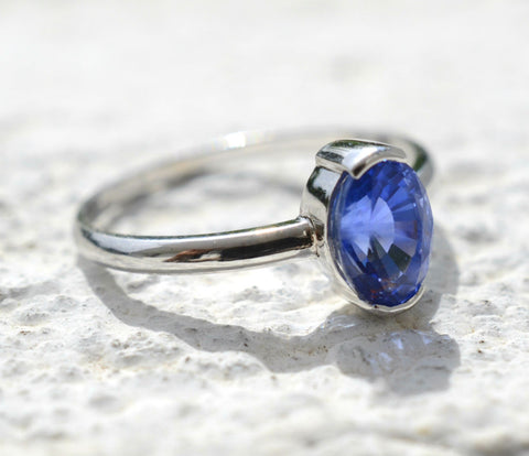 18K White Gold Natural Ceylon Oval Blue Sapphire Ring available to buy at Elizabeth Jewellers in Sri Lanka