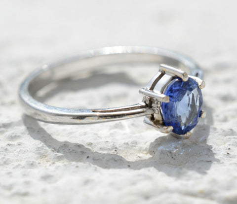 Ceylon Blue Sapphire Barrel Stack Solitaire 18K White Gold Ring
