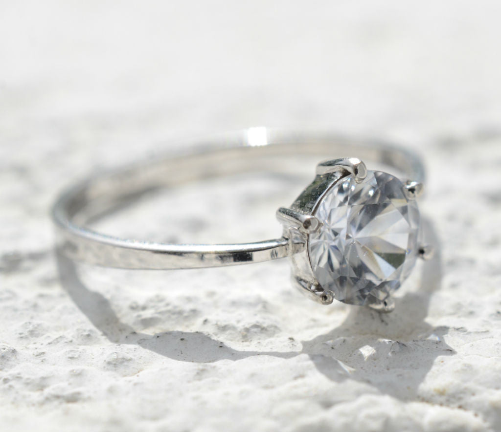Natural Ceylon White Sapphire engagement ring available at Elizabeth Jewellers in Sri Lanka