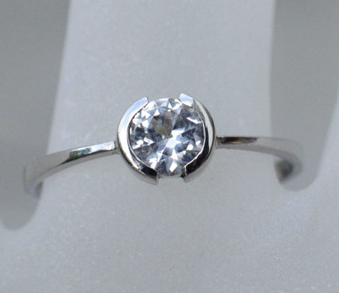 Round Natural Ceylon White Sapphire Ring in 18K White Gold available to buy at Elizabeth Jewellers in Sri Lanka