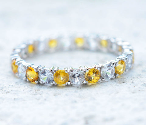 18K White Gold White and Yellow Sapphire Eternity Ring