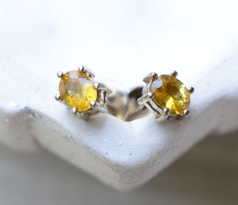 Oval Natural Ceylon Yellow Sapphire 18K White Gold Mini Earstuds