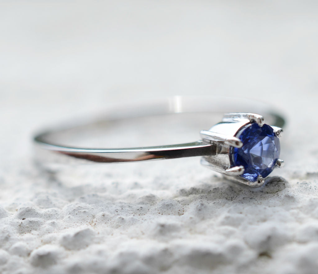 Ceylon blue sapphire white gold ring with bezel setting