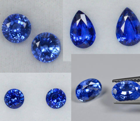 Blue Sapphires in many shapes, sizes and shades under 1 carat