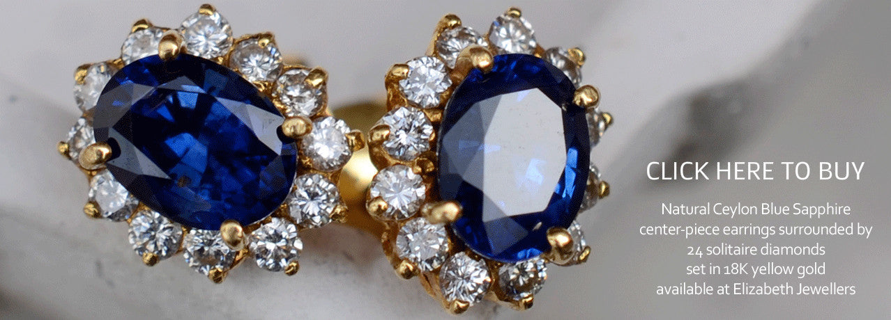 Natural Ceylon Blue Sapphire Earrings surrounded with Diamonds Available At Elizabeth Jewellers in Sri Lanka