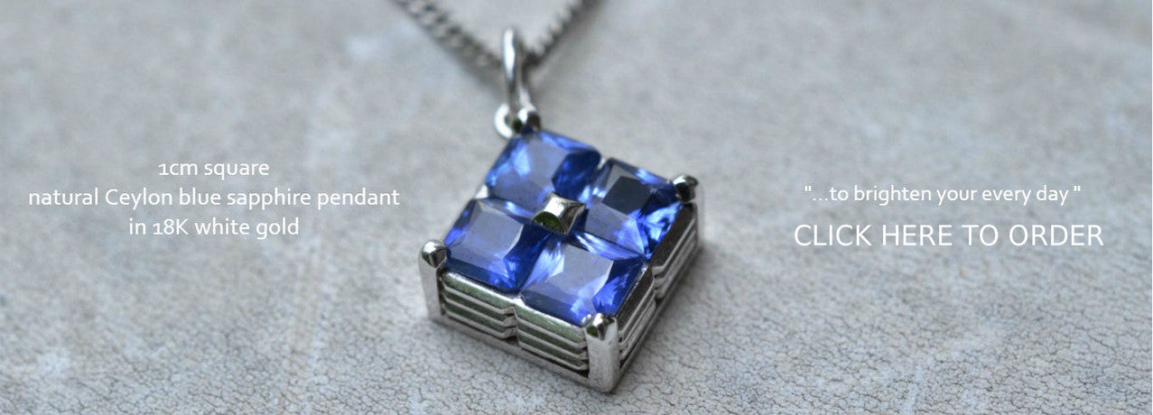 Nautral Ceylon Blue sapphire pendant studded with princess cut blue sapphires