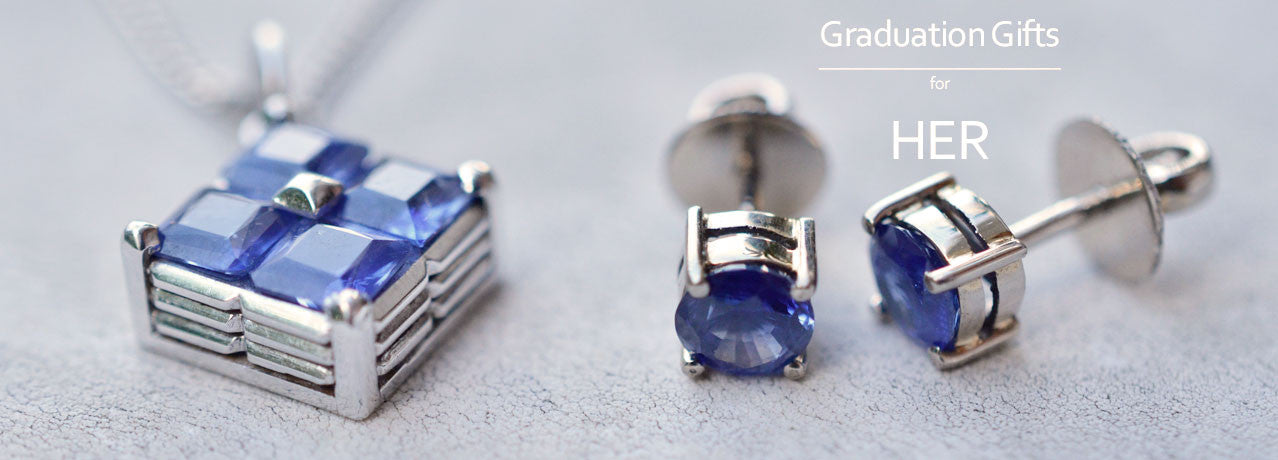Natural Ceylon Blue Sapphire Pendant and Ceylon blue sapphire earrings for Her Graduation Gift