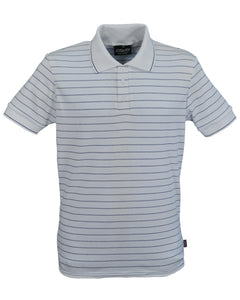 Men's striped slim fit interlock polo shirt, made in England