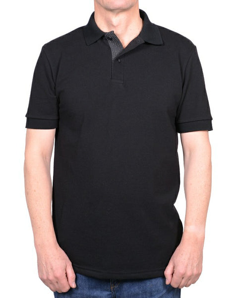 J509 Men's Polo Shirt black with patterned lower placket