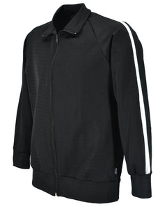 Men's tracksuit jacket, black with white stripe.   Made in UK