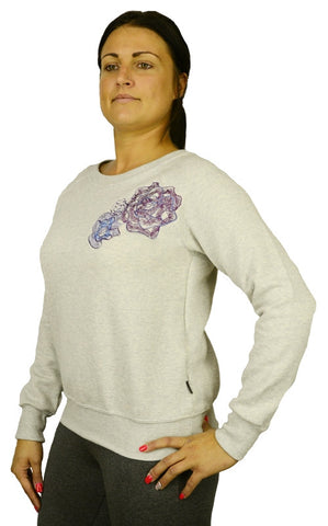 Women's sweatshirt with embroidered rose design