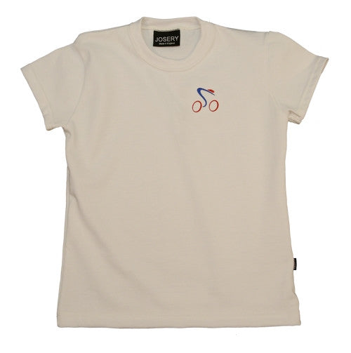 J910 Older Child's T-Shirt With Embroidered Cycle Design 23A03