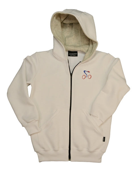 Childs zip hoodie with cycling design.  Made in England.