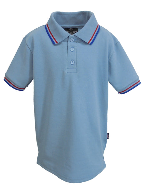 J923 Child's Polo Shirt light blue with striped trims