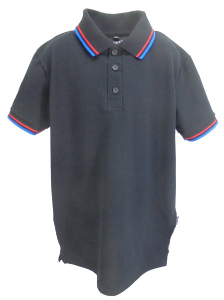 J923 Child's Polo Shirt Black with striped trims