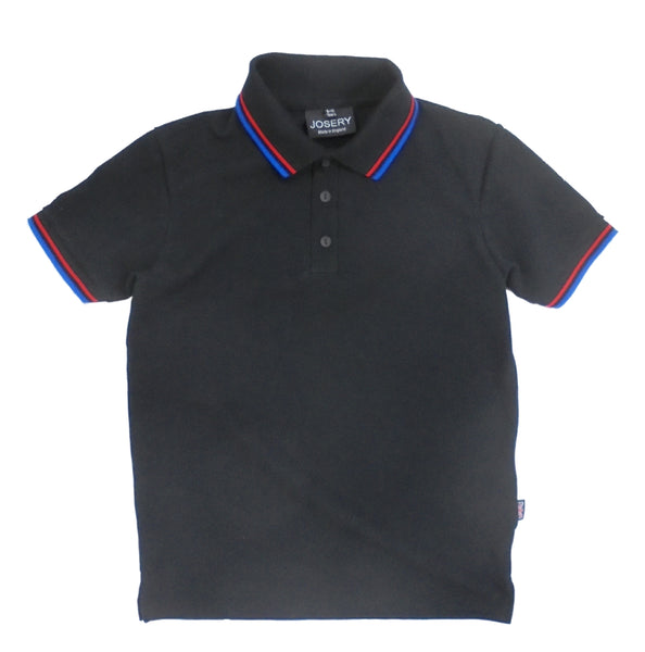 Childs black polo shirt with red + royal stripes