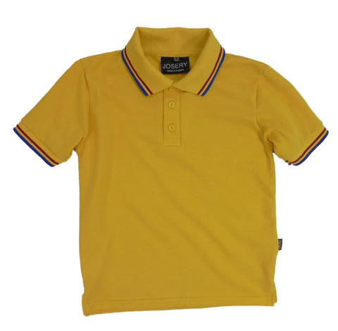 Childs yellow polo shirt with striped trims
