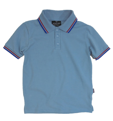 Childs light blue polo shirt with striped trim