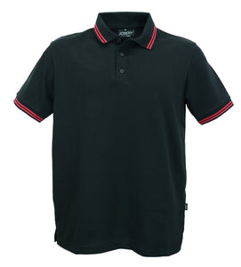 Black polo shirt with double red striped trim to collar, british made