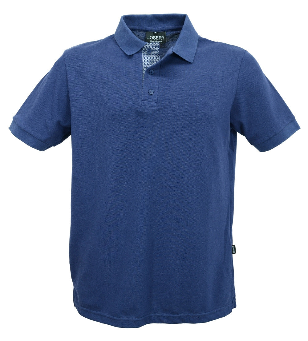 Navy polo shirt with decorated lower placket, made in England