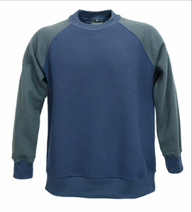 Contrast sleeve raglan sweat, navy with dark grey sleeves.   Made in UK.