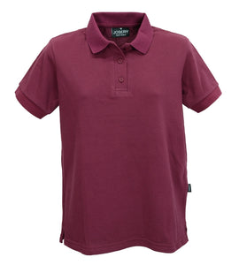 Women's plain polo shirt in burgundy, made in UK