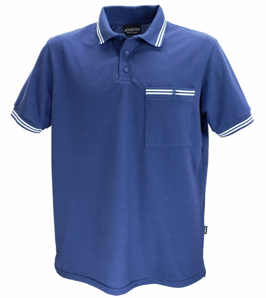 Navy polo shirt with breast pocket