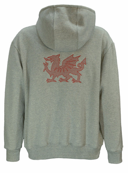 Hoodie with large embroidered Welsh dragon design on back