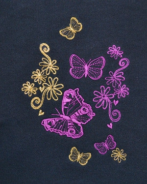 J101 Womens wide neckline sweatshirt with detailed Butterfly embroidered design in two positions 22J/02