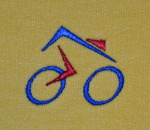 yellow hoodie with cycling design made in England