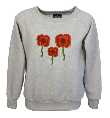 Grey marl sweatshirt with poppy design, women's style.